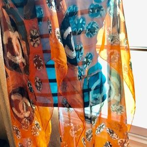 Authentic Chanel 100% Silk Scarf. Orange.